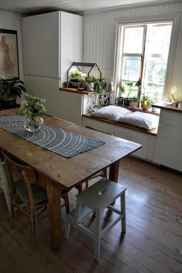 Kuchyně, lavice pod oknem, Finsko