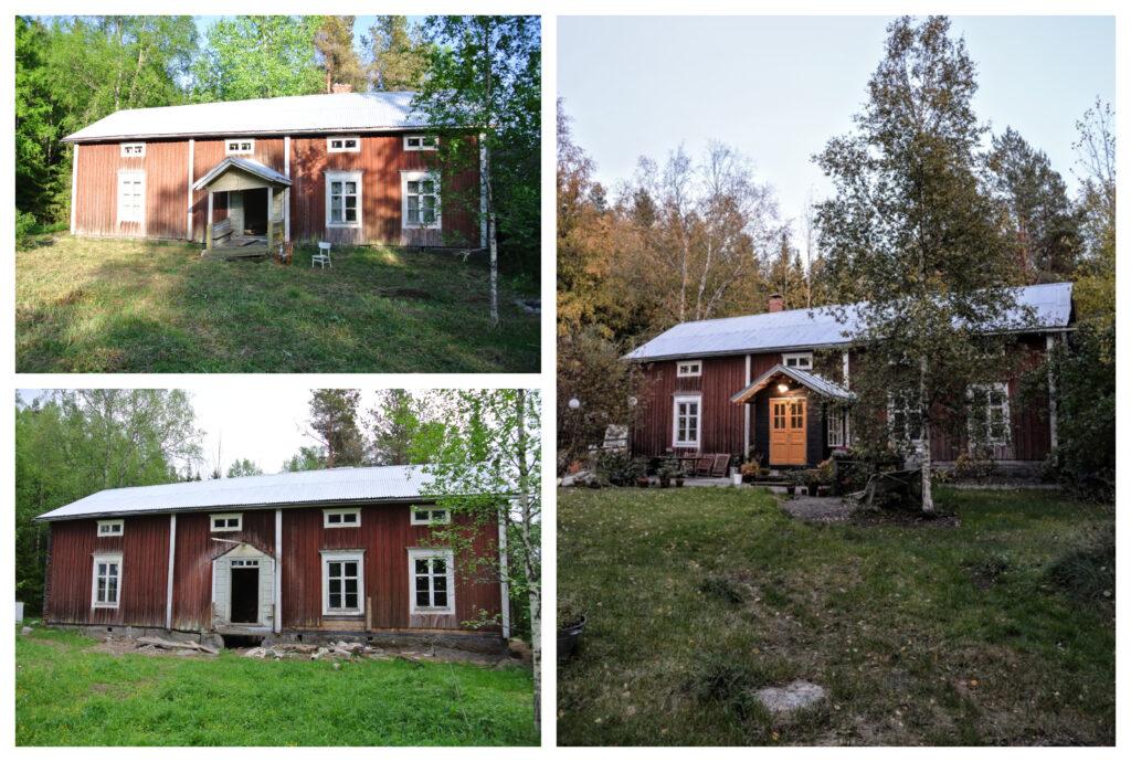 Finsko, červený dům, starý dům, rekonstrukce staré dřevostavby