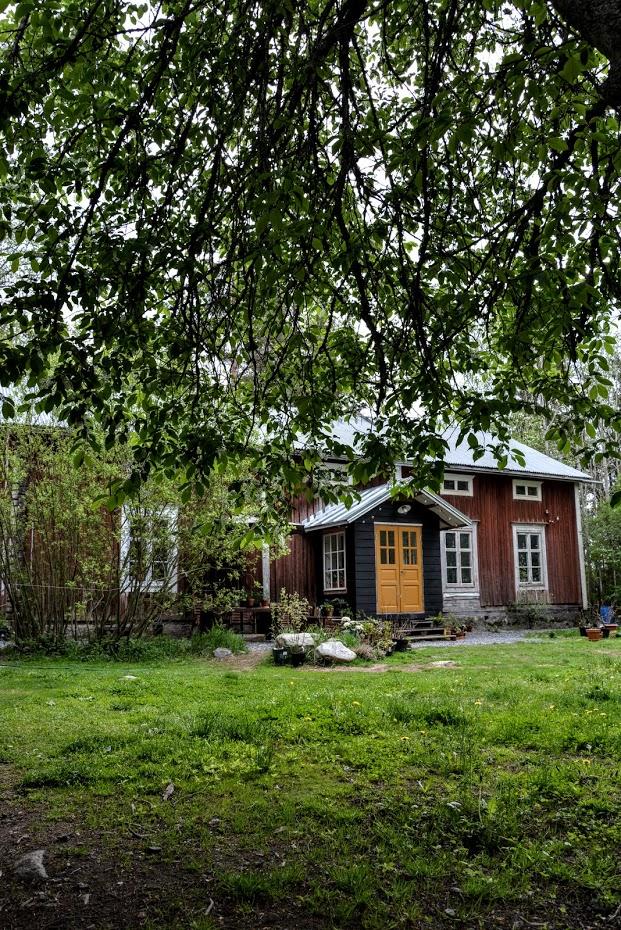 Červený dům, finská dřevostavba, starý dům