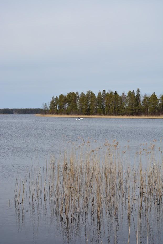 Finsko, jezero, cesta lodí