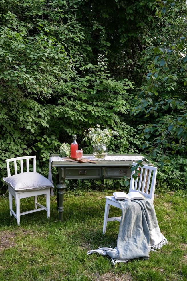 Léto, Finsko, zahrada, posezení v zeleni, květiny, rebarbora