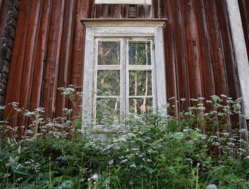 Finsko, stará dřevostavba, červený dům