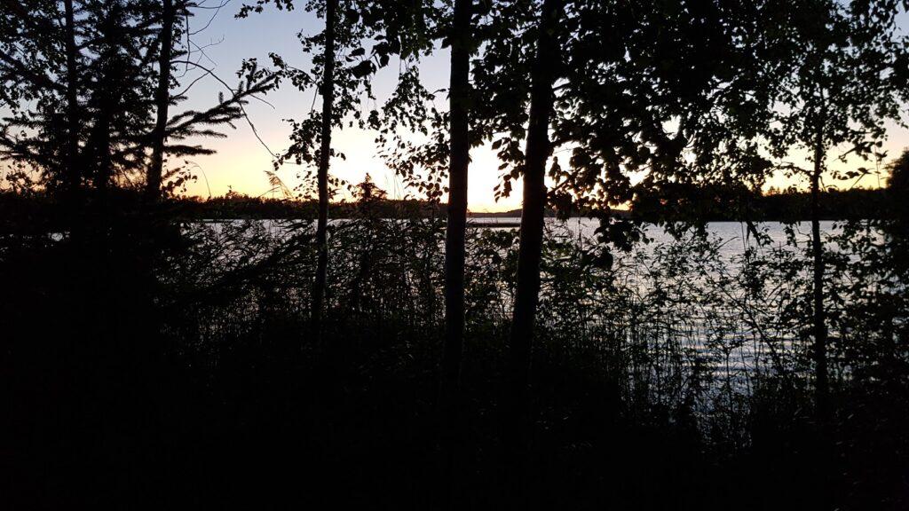 večer, jezero, letní noc, severská noc