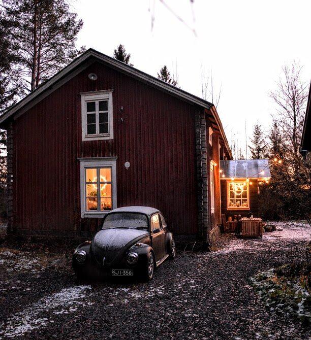 roubenka, dřevostavba, vánoční osvětlení