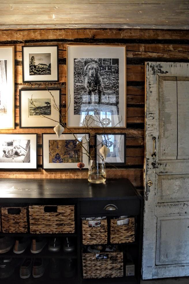 photo wall, interiér dřevostavby