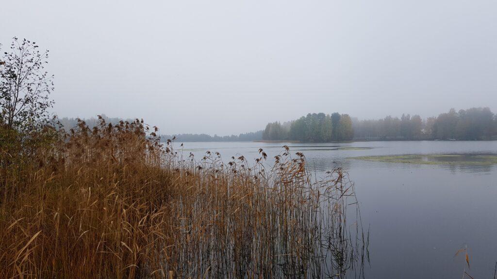 podzim, jezero, Finsko