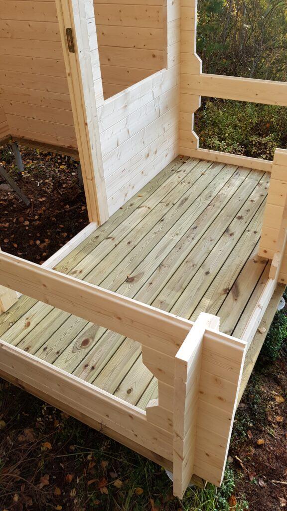 Finská sauna, podlaha na terase