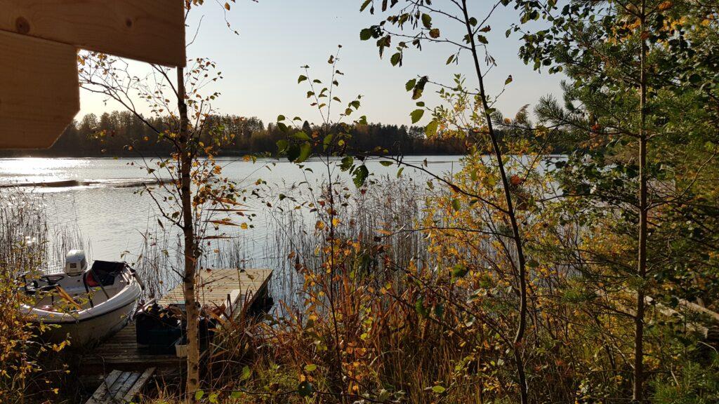 výhled ze sauny, finské jezero