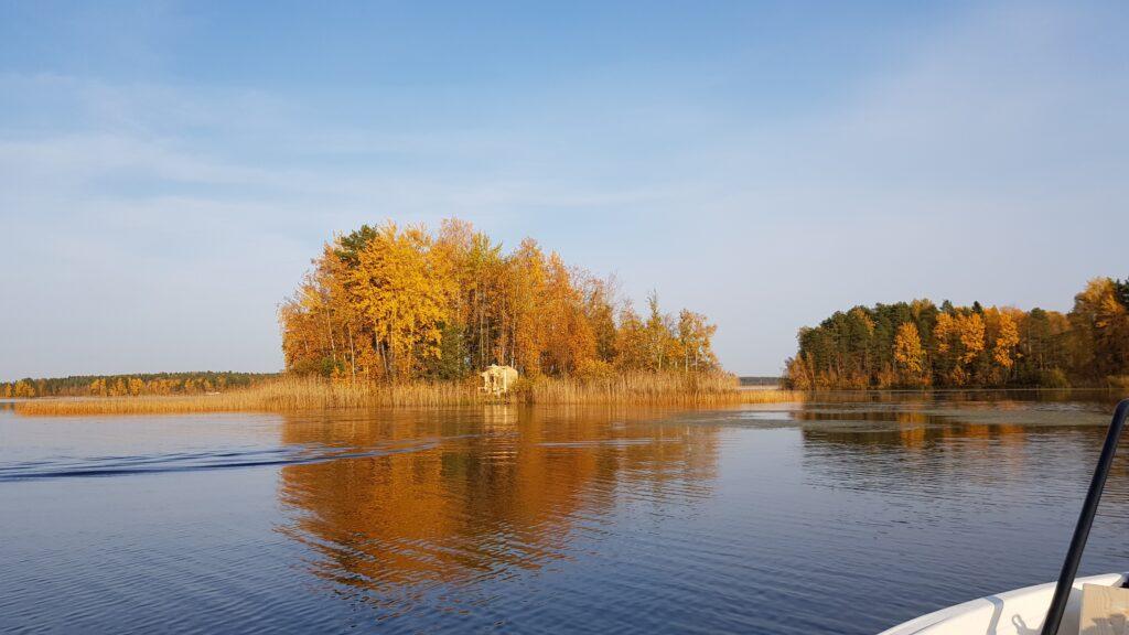 ostrovní chata, sauna, podzim, Finsko